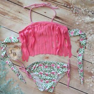Other - 💕CLEARANCE 💕Girls Pink Fringe & Floral Bikini